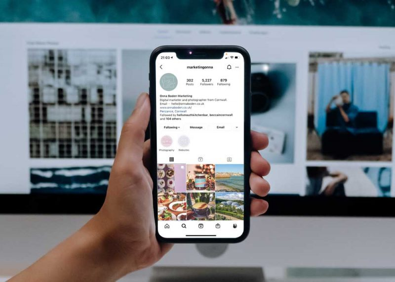 iPhone showing Instagram