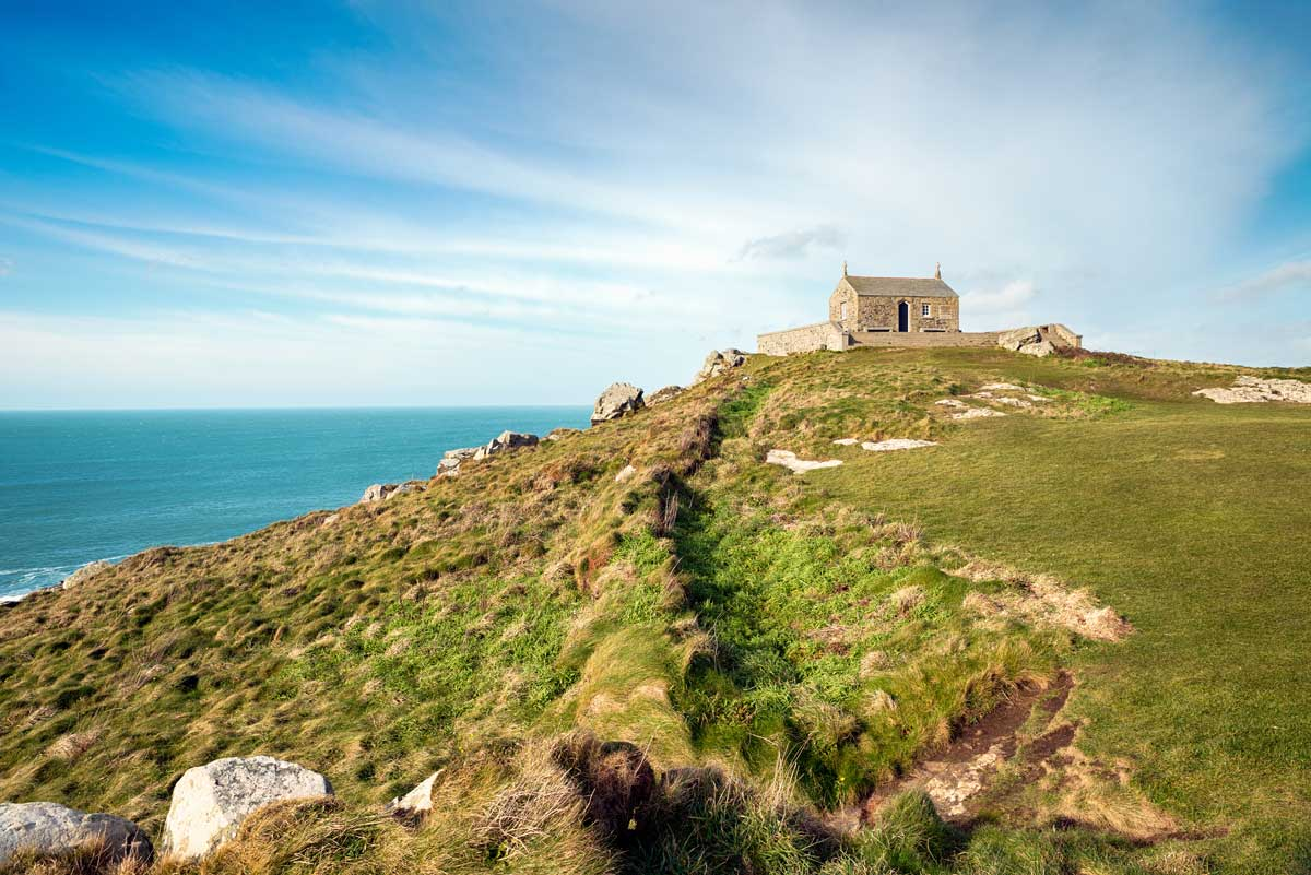 Chapel of St Nicholas on top of The Island in St Ives, Cornwall.