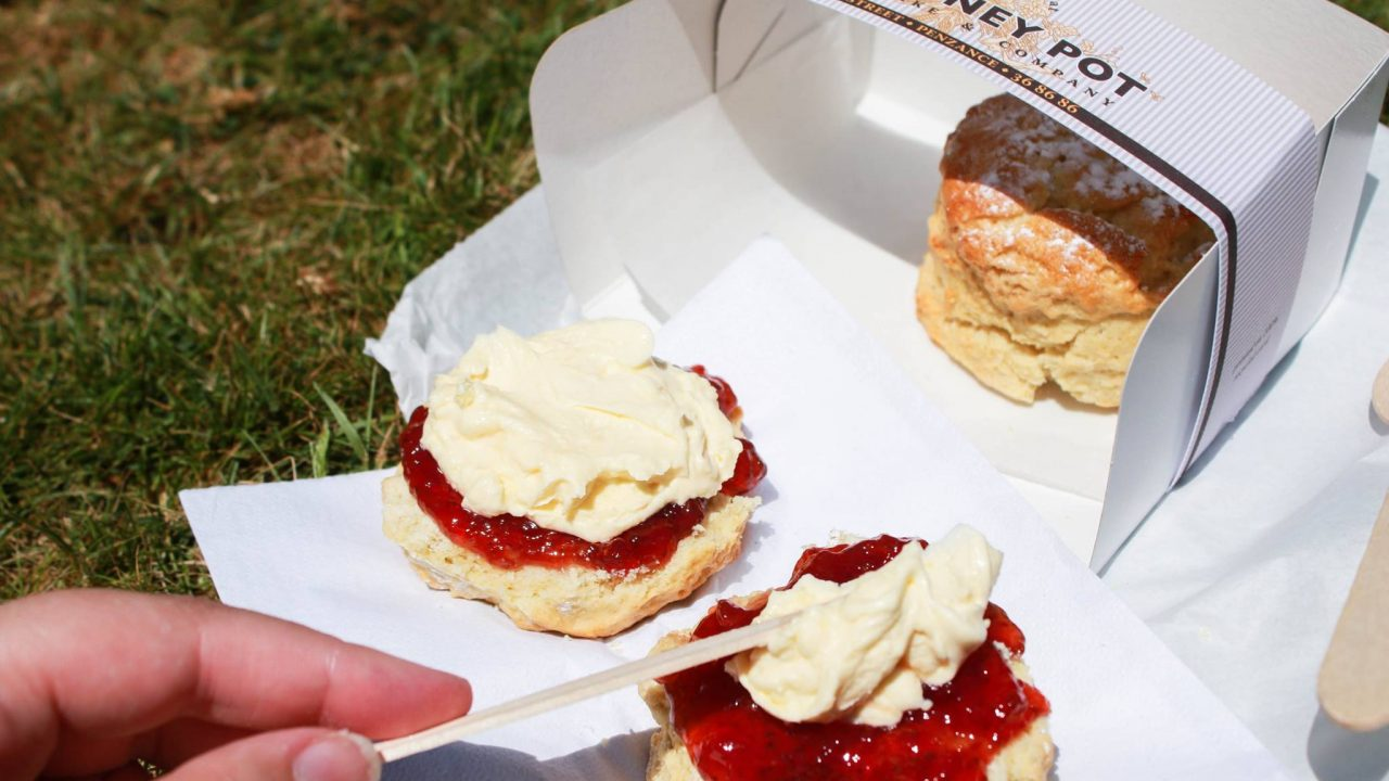 Takeaway Honey Pot cream tea on a grassy field.