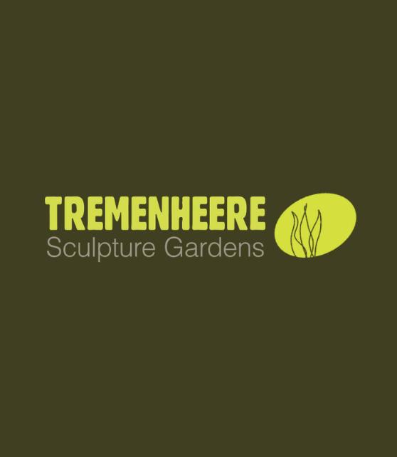Tremenheere Sculpture Gardens logo on green background.