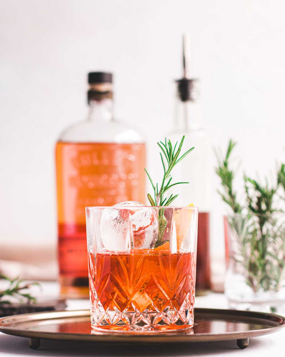Old Fashioned Cocktail with rosemary garnish